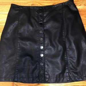 Leather Free People button up mini skirt